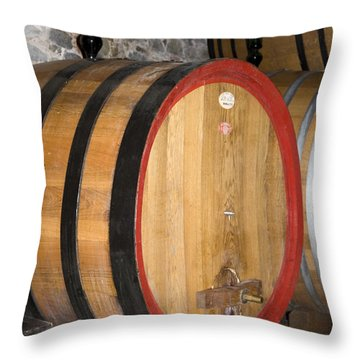 Wine Aging Throw Pillow by Sally Weigand