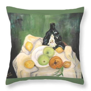 Wine And Fruit Throw Pillow by Caroline Street