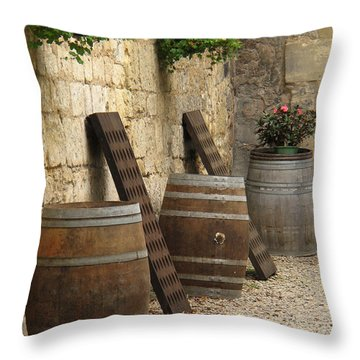 Wine Barrels And Racks In Saint Emilion France Throw Pillow by Greg Matchick