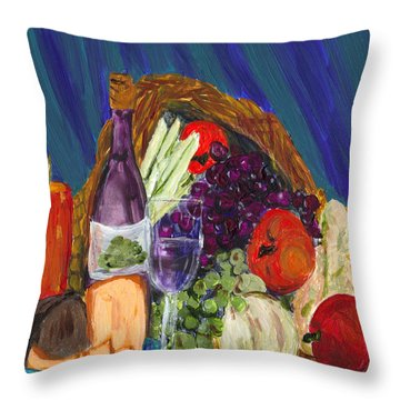 Wine Cornucopia Throw Pillow