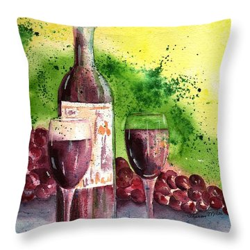 Wine For Two - 2 Throw Pillow by Sharon Mick
