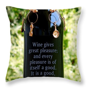 Wine Gives Great Pleasure Throw Pillow by Renee Trenholm
