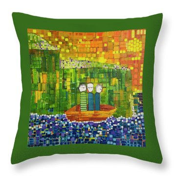 Throw Pillow featuring the painting Wink Blink And Nod by Donna Howard
