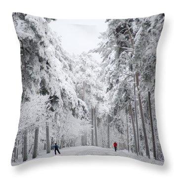 Winter Activities Throw Pillow