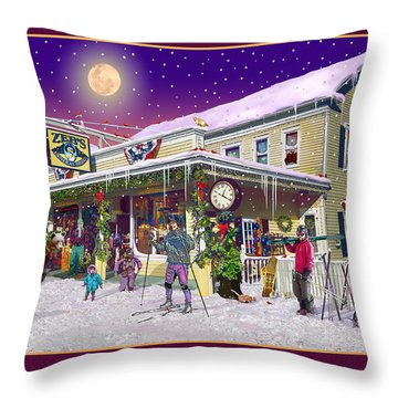 Winter At Zebs General Store In North Conway Nh Throw Pillow