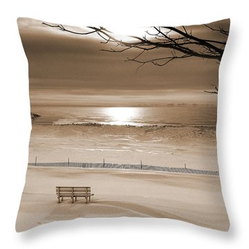 Winter Beach Morning Sepia Throw Pillow