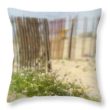 Winter Beach Scene Throw Pillow
