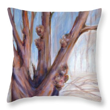 Throw Pillow featuring the painting Winter Bones by Sally Simon
