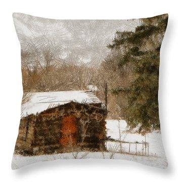 Winter Cabin 2 Throw Pillow by Ernie Echols