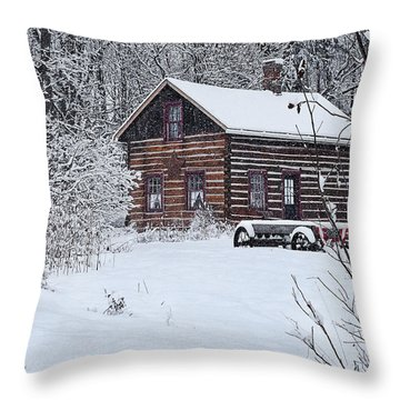 Throw Pillow featuring the photograph Winter Cabin by Judy  Johnson