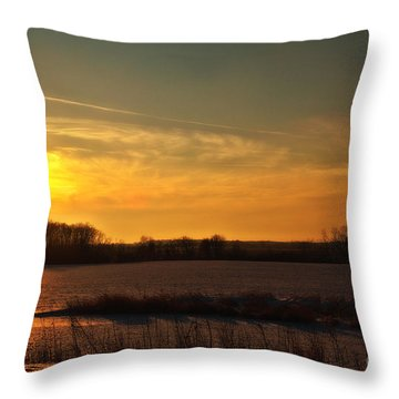 Winter Country Sunset Throw Pillow by Joel Witmeyer
