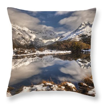 Winter Dawn Reflection Of Mount Throw Pillow by Colin Monteath