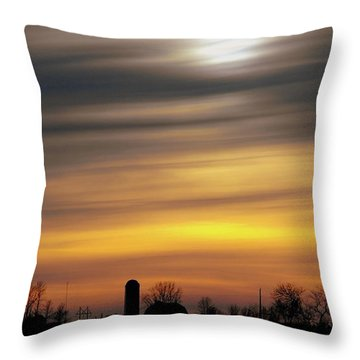 Winter Farm Sunset Throw Pillow