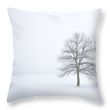 Winter Fog And Trees Throw Pillow