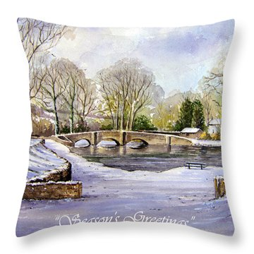 Winter In Ashford Xmas Card Throw Pillow by Andrew Read