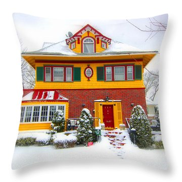 Winter In Ditmas Park Throw Pillow by Mark Gilman