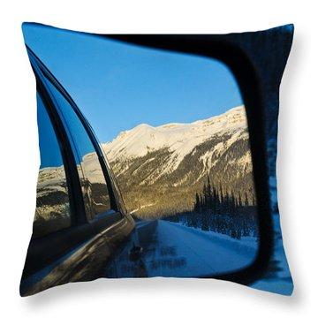 Winter Landscape Seen Through A Car Mirror Throw Pillow