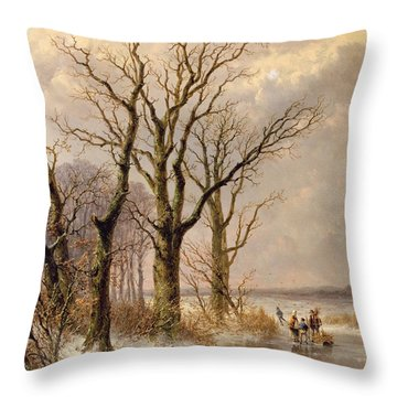Winter Landscape With Faggot Gatherers Conversing On A Frozen Lake Throw Pillow by Josephus Gerardus Hans