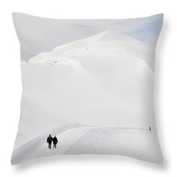 Winter Mountain Landscape With Lots Of Snow Throw Pillow by Matthias Hauser
