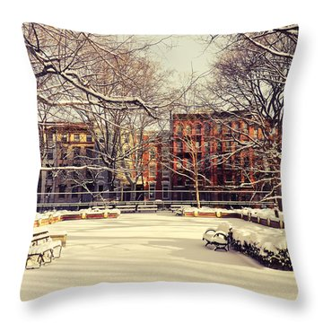 Winter - New York City Throw Pillow by Vivienne Gucwa