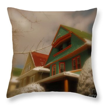 Winter On Rugby Road Throw Pillow by Mark Gilman