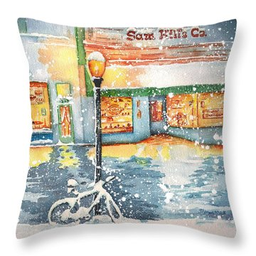 Winter On Whiskey Row Prescott Arizona Throw Pillow by Sharon Mick