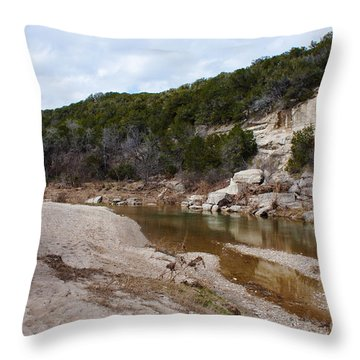 Winter River Throw Pillow by Lisa Holmgreen