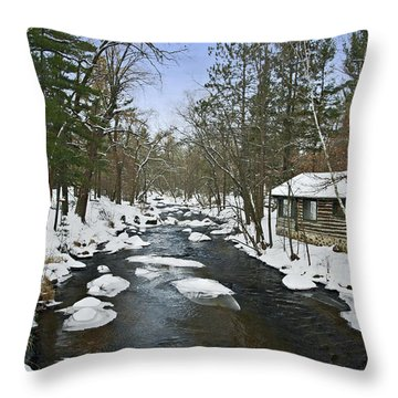 Throw Pillow featuring the photograph Winter Saxeville Log Cabin by Judy  Johnson