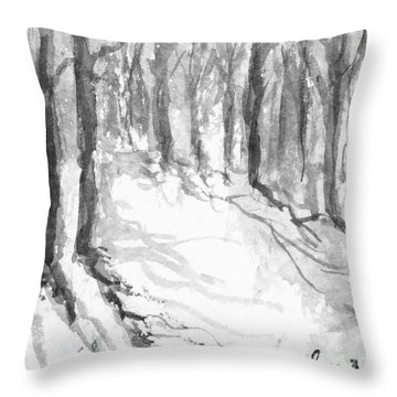 Throw Pillow featuring the painting Winter Shadows by Fred Wilson