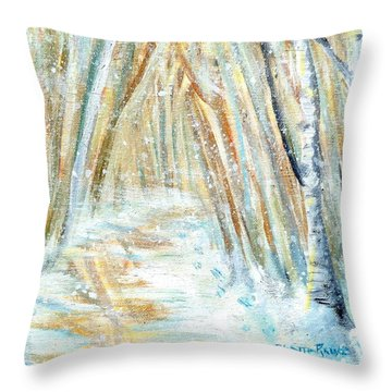 Throw Pillow featuring the painting Winter by Shana Rowe Jackson