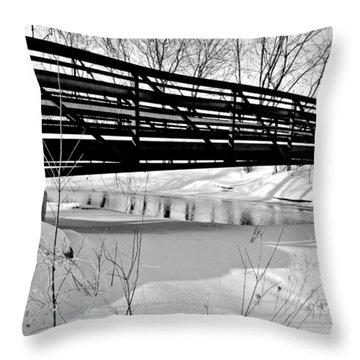 Throw Pillow featuring the photograph Winter Splendor In B And W by Janice Adomeit
