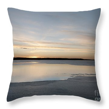 Throw Pillow featuring the photograph Winter Sunset Over Lake by Art Whitton
