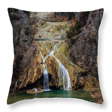 Winter Time At The Falls Throw Pillow by Doug Long