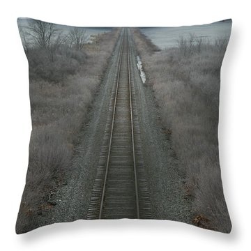 Winter Tracks  Throw Pillow by Neal Eslinger