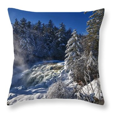 Winter Waterfalls Throw Pillow