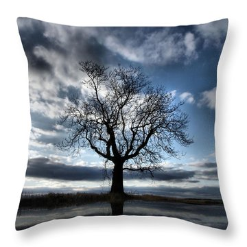 Wintering Oak Tree Throw Pillow
