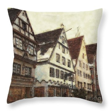 Winterly Old Town Throw Pillow by Jutta Maria Pusl