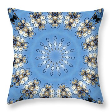 Wire Flowers And Butterflies Throw Pillow by Kristie  Bonnewell