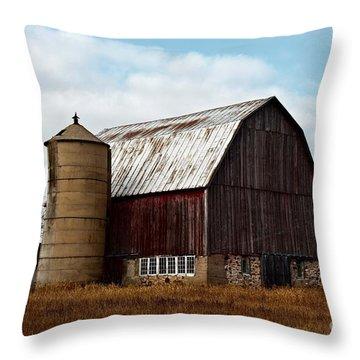 Wisconsin Dairy Barn Throw Pillow by Ms Judi
