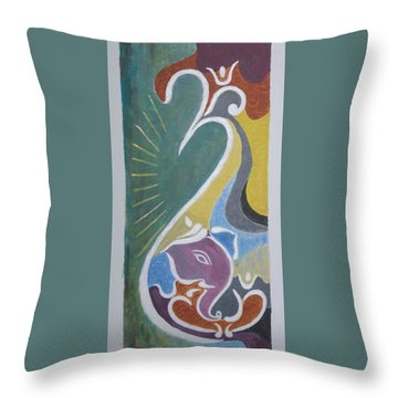 Throw Pillow featuring the painting Wisdom And Peace by Sonali Gangane