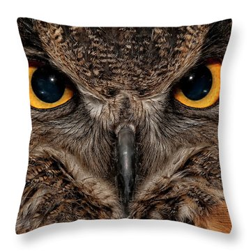 Wise Eyes Throw Pillow by Wade Aiken