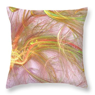 Throw Pillow featuring the digital art Wispy Willow by Kim Sy Ok