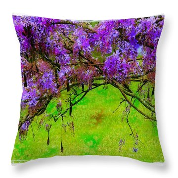 Throw Pillow featuring the photograph Wisteria Bower by Judi Bagwell