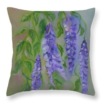 Throw Pillow featuring the painting Wisteria by Carol Berning