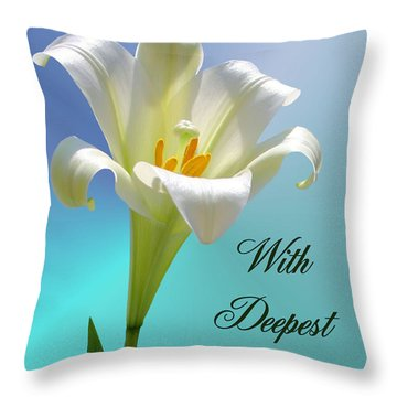 With Deepest Sympathy Throw Pillow by Kristin Elmquist