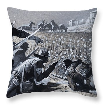 With His Men Concealed Fetterman Waited For The Marauding Indians Throw Pillow by Severino Baraldi