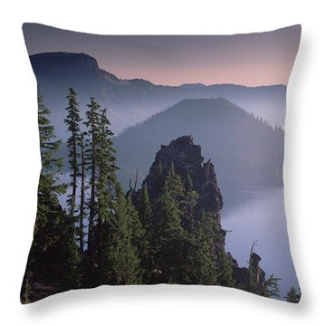 Wizard Island In The Center Of Crater Throw Pillow by Tim Fitzharris