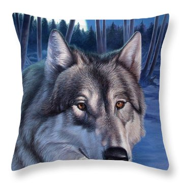 Wolf In Moonlight Throw Pillow