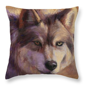 Wolf Study Throw Pillow by Billie Colson