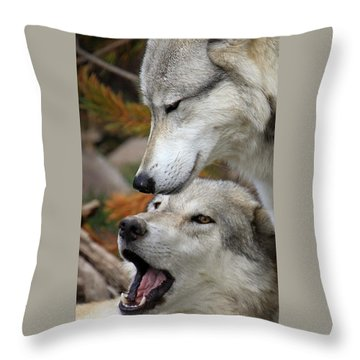 Throw Pillow featuring the photograph Wolf Talk by Steve McKinzie